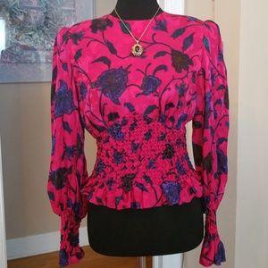 VTG Silk Bright Floral Peplum Style Croptop Blouse